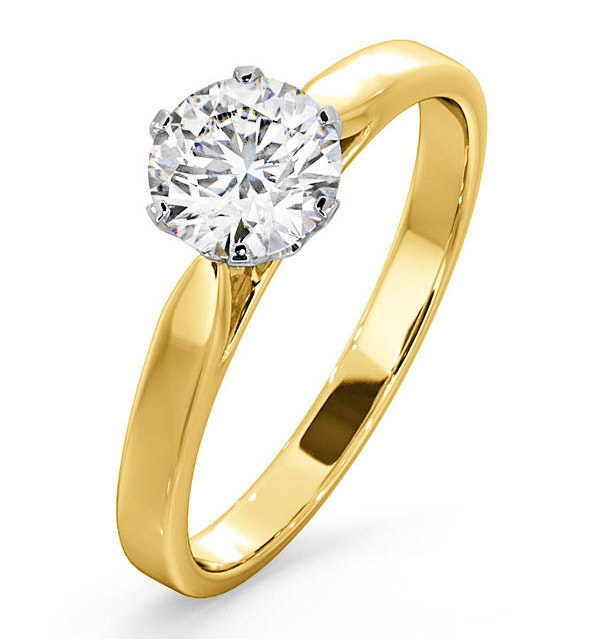 Certified 1.00CT Chloe Low 18K Gold Engagement Ring E/VS2 - image 1