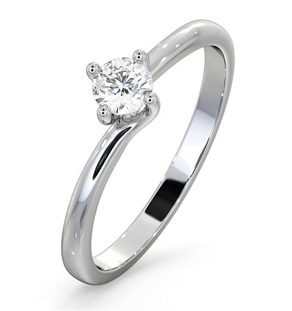 Certified Lily 18K White Gold Diamond Engagement Ring 0.25CT-G-H/SI - image 1