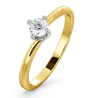 CERTIFIED LILY 18K GOLD DIAMOND ENGAGEMENT RING 0.25CT