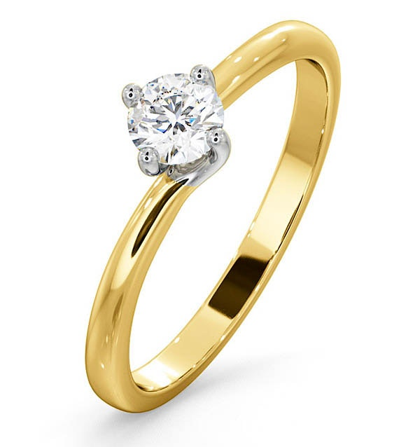 Certified Lily 18K Gold Diamond Engagement Ring 0.33CT-G-H/SI