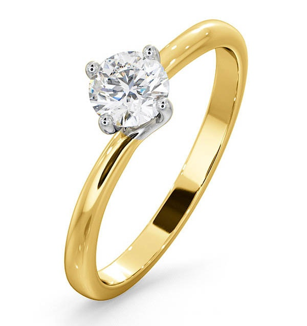 Certified Lily 18K Gold Diamond Engagement Ring 0.50CT