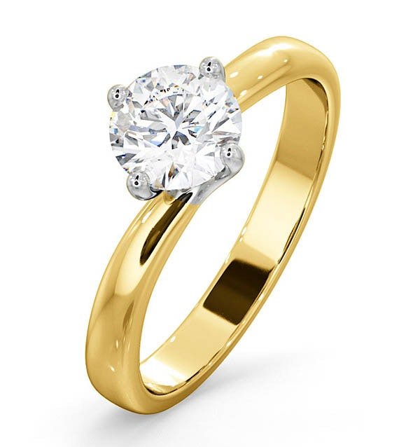 Certified 0.90CT Lily 18K Gold Engagement Ring E/VS2