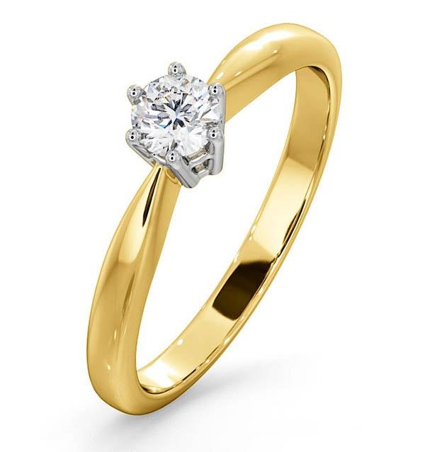Certified High Set Chloe 18K Gold Diamond Engagement Ring 0.25CT