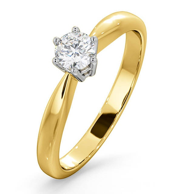 Certified High Set Chloe 18K Gold Diamond Engagement Ring 0.33CT