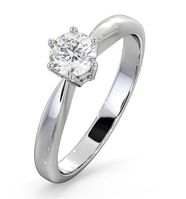 Certified 0.50CT Chloe High Platinum Engagement Ring G/SI2 - image 1