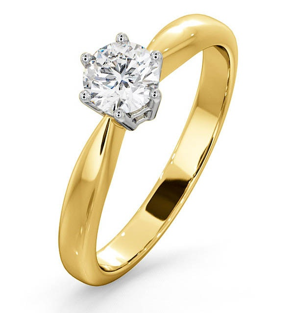 Certified High Set Chloe 18K Gold Diamond Engagement Ring 0.50CT