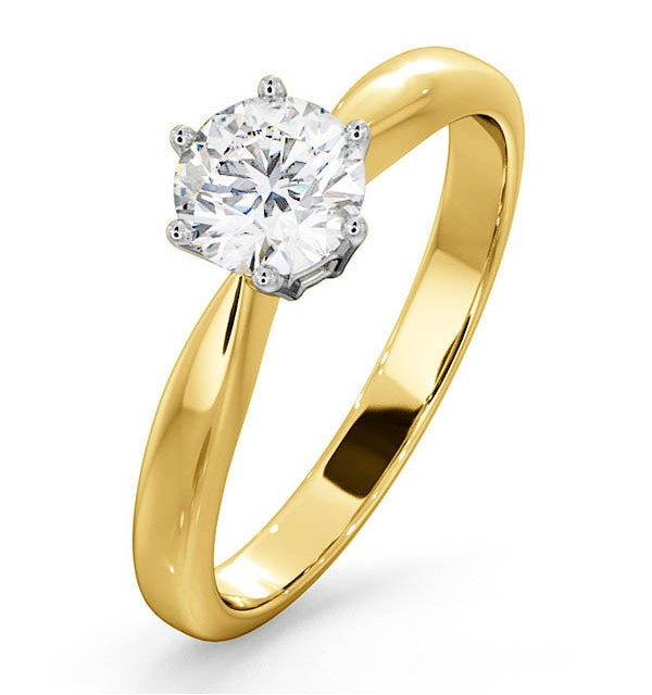 Certified High Set Chloe 18KY DIAMOND Engagement Ring 0.75CT - image 1