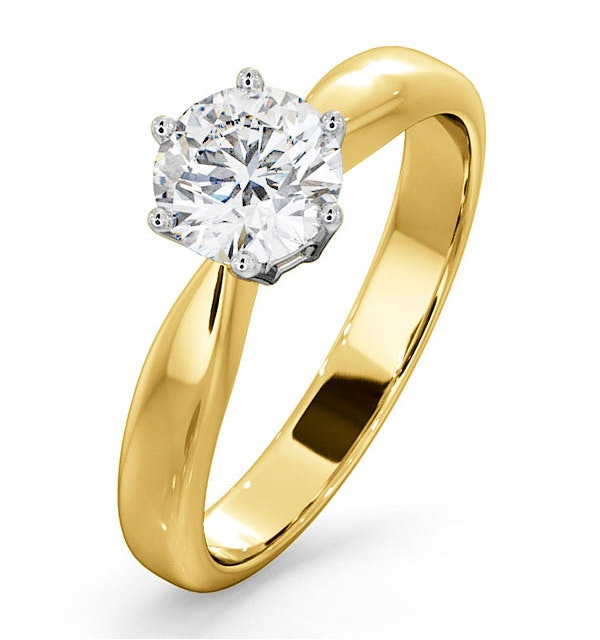 Certified 0.90CT Chloe High 18K Gold Engagement Ring G/SI1 - image 1
