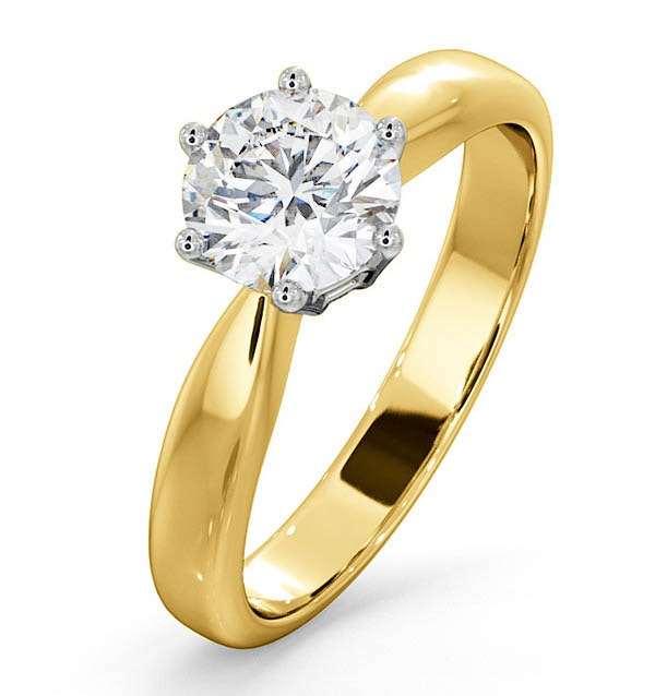 Certified 1.00CT Chloe High 18K Gold Engagement Ring E/VS1