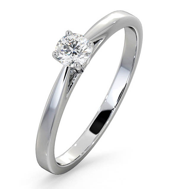 Engagement Ring Certified Petra 18K White Gold Diamond  0.25CT-G-H/SI - image 1