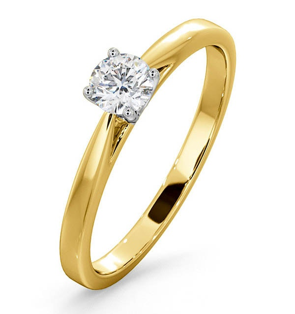 Engagement Ring Certified Petra 18K Gold Diamond  0.33CT-G-H/SI