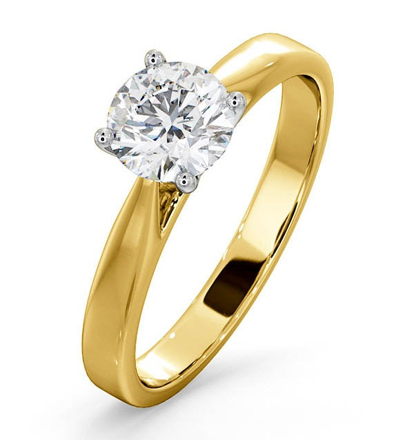 Engagement Ring Certified 1.00CT Petra 18K Gold  E/VS1