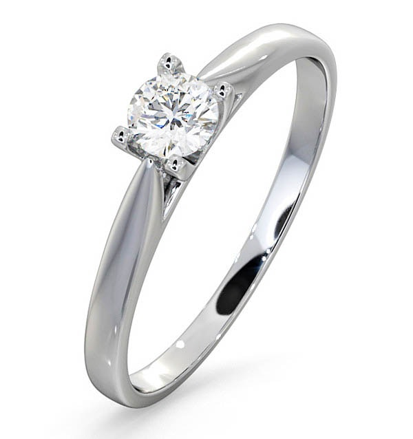 Certified Grace 18K White Gold Diamond Engagement Ring 0.25CT