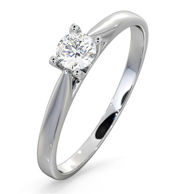 Certified Grace 18K White Gold Diamond Engagement Ring 0.25CT-G-H/SI - image 1