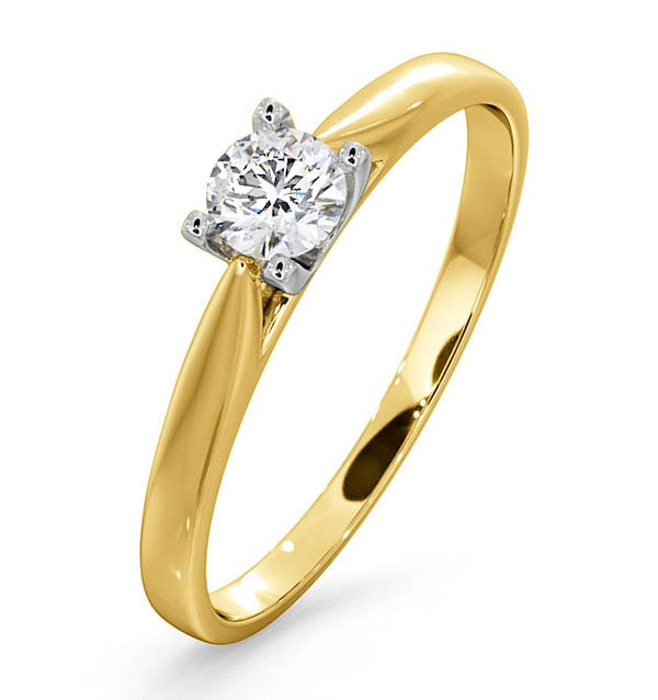 Certified Grace 18K Gold Diamond Engagement Ring 0.25CT
