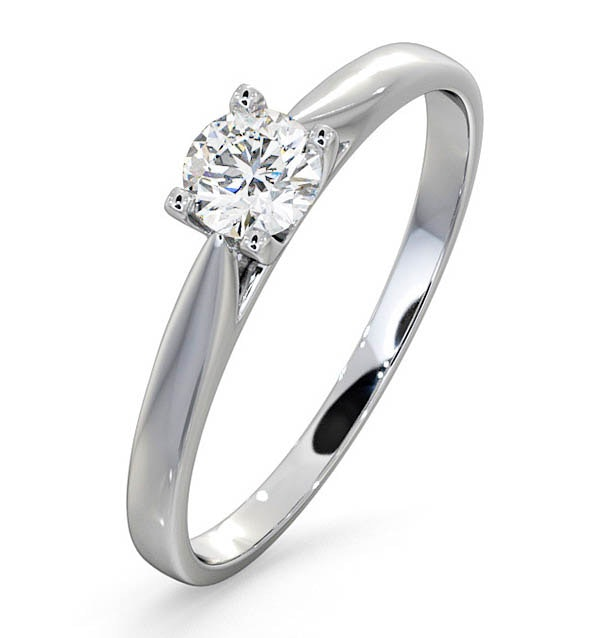 Certified Grace 18K White Gold Diamond Engagement Ring 0.33CT
