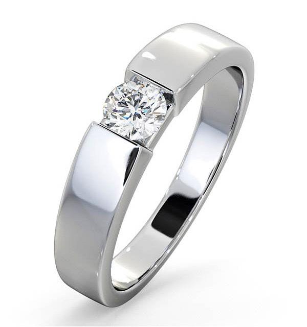 Certified Jessica 18K White Gold Diamond Engagement Ring 0.33CT-F-G/VS - image 1