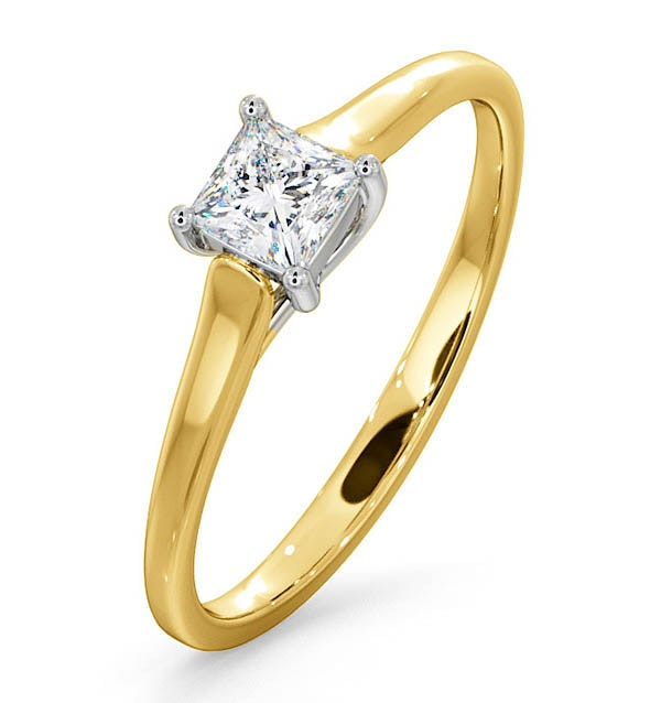 Certified Lucy 18K Gold Diamond Engagement Ring 0.33CT-G-H/SI