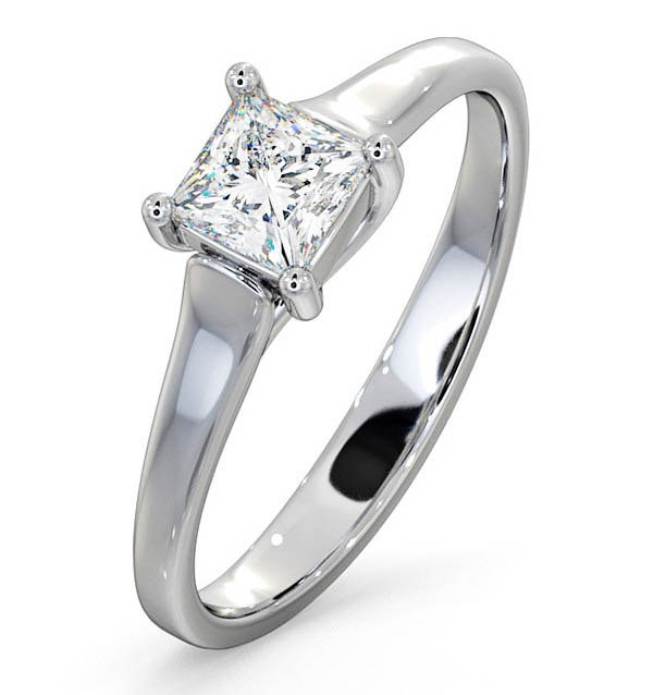 Certified Lucy 18K White Gold Diamond Engagement Ring 0.50CT-G-H/SI