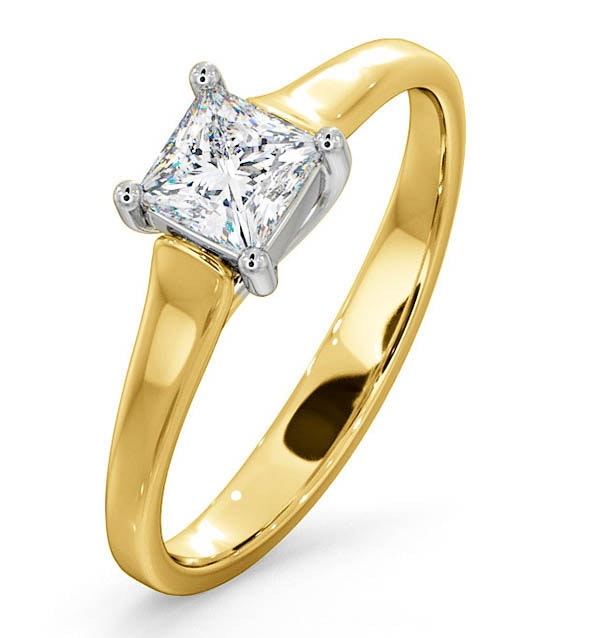 Certified Lucy 18K Gold Diamond Engagement Ring 0.50CT-G-H/SI