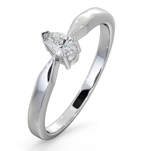 Certified Pear Shaped Platinum Diamond Engagement Ring 0.25CT-G/Vs