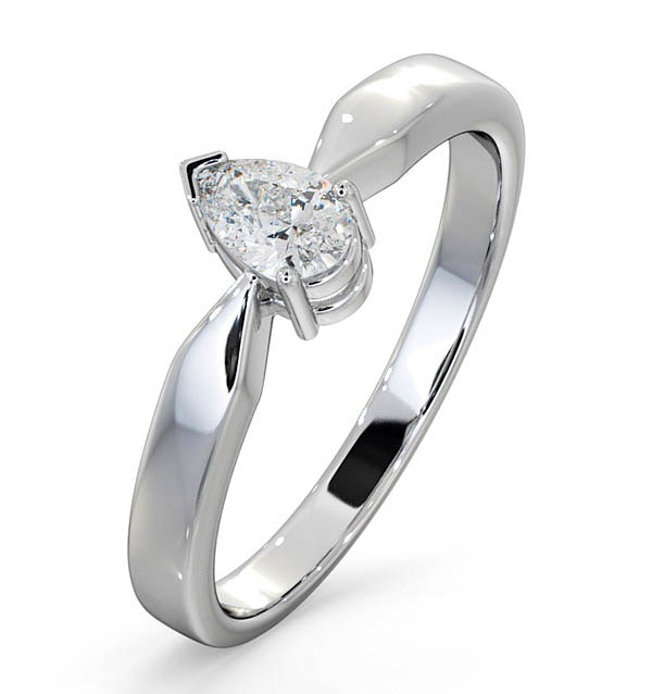 Certified Pear Shaped Platinum Diamond Engagement Ring 0.33CT-G/Vs