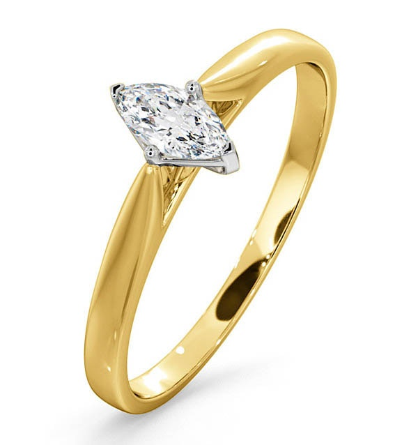 Certified Marquise 18K Gold Diamond Engagement Ring 0.25CT-G-H/SI
