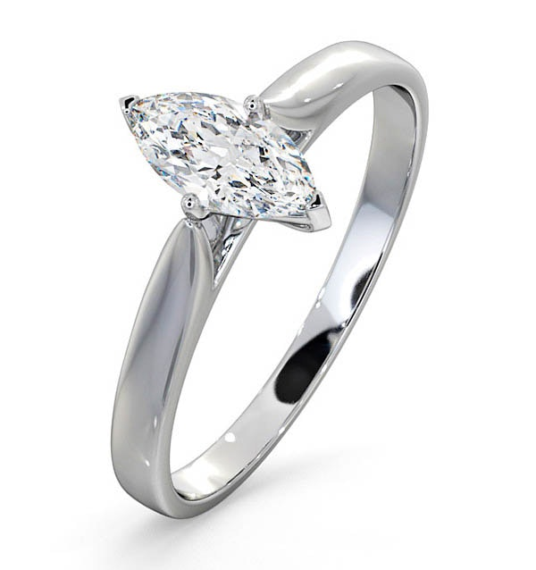 Engagement Ring Certified Diamond 0.50CT H/SI Marquise 18K White Gold