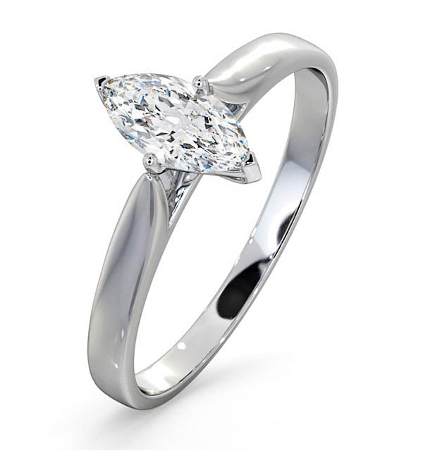 Engagement Ring Certified Marquise Diamond 0.50CT G/VS 18K White Gold - image 1