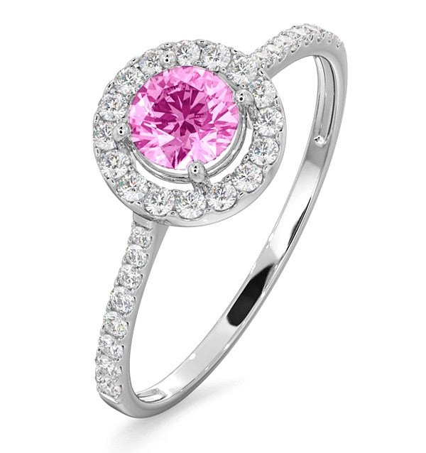 Halo 18K White Gold Diamond and Pink Sapphire Ring 0.36ct