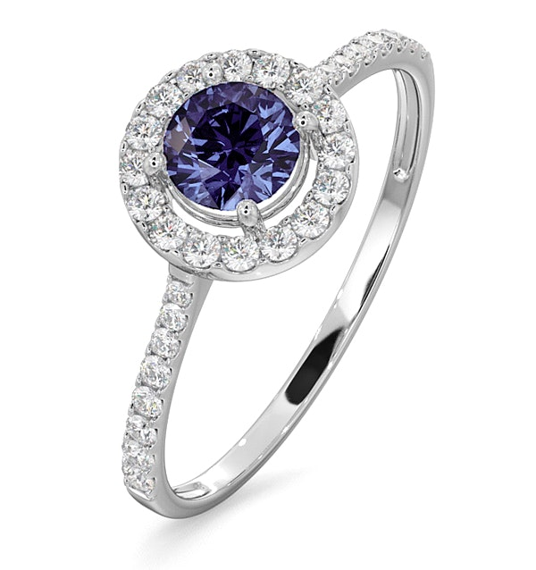 Halo Tanzanite 8.7mm And 0.36ct Diamond 18K White Gold Ring