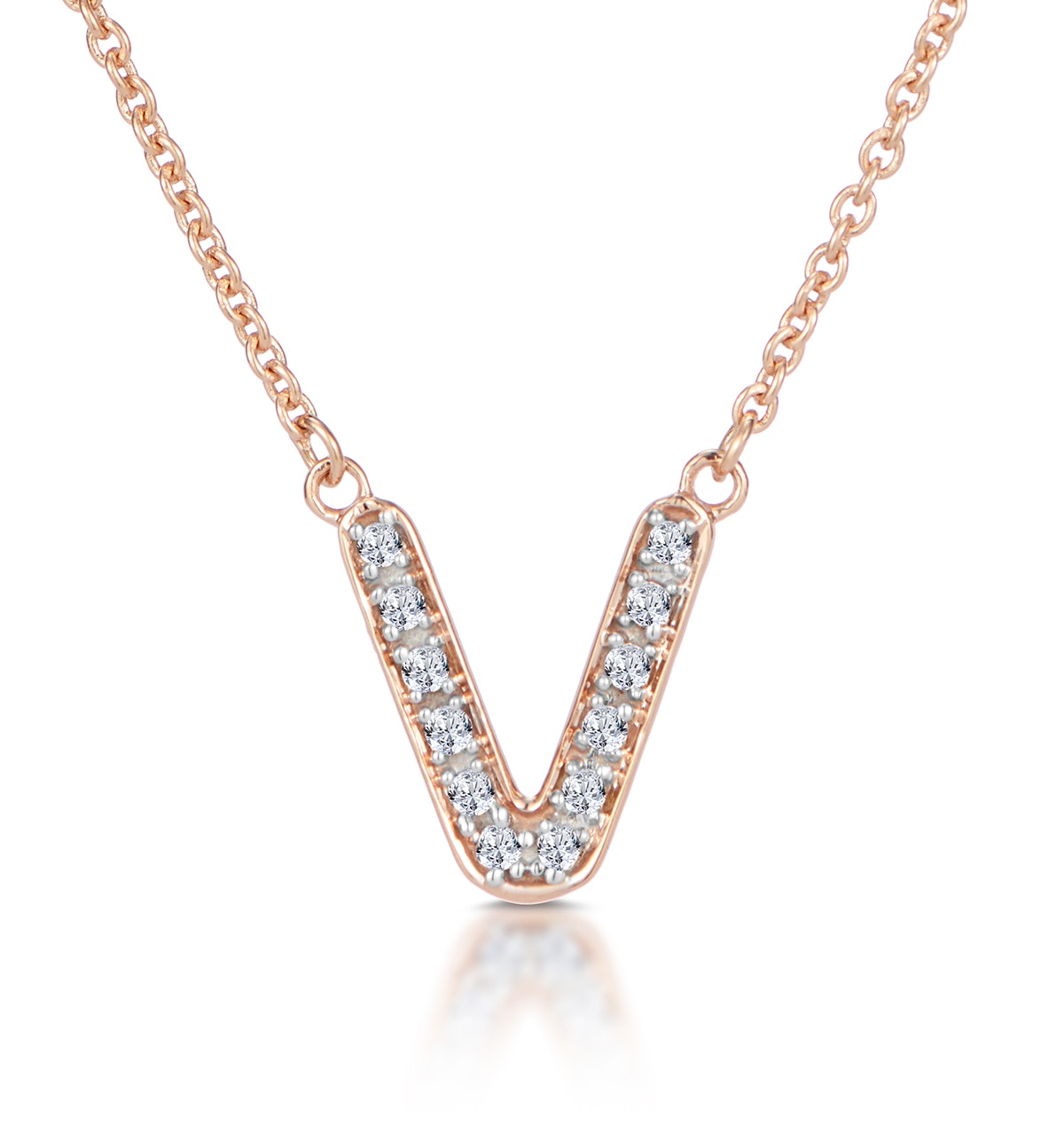 Initial 'V' Necklace Diamond Encrusted Pave Set in 9K Rose Gold