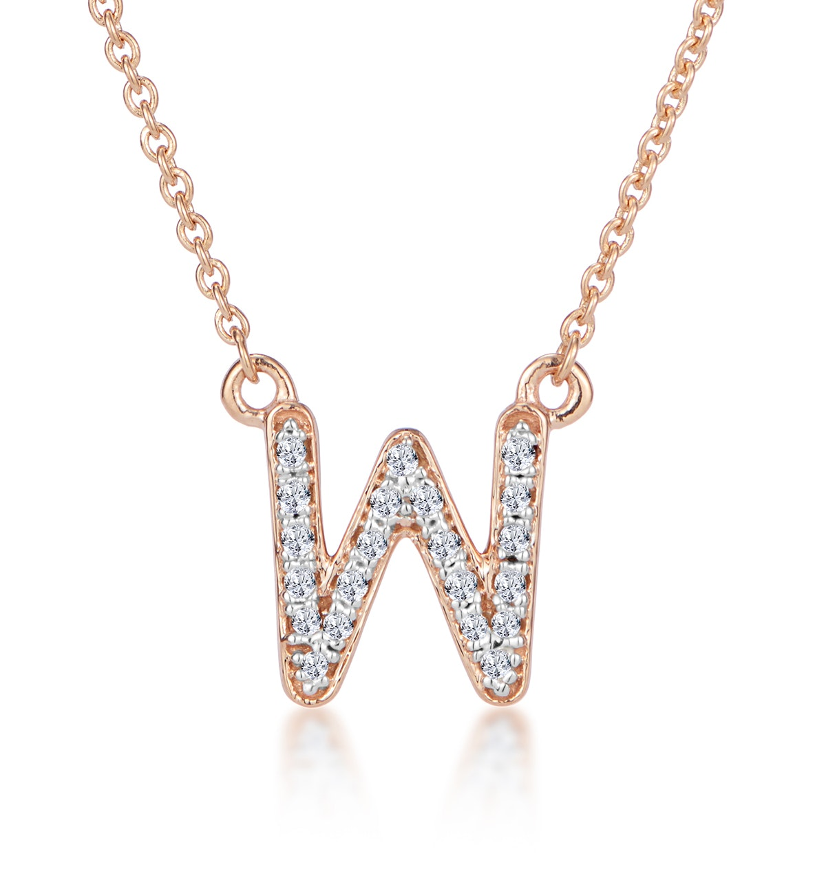 Initial 'W' Necklace Diamond Encrusted Pave Set in 9K Rose Gold