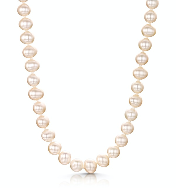 Extra Long 6.5mm Freshwater Pearl Amelie Necklace 925 Silver Clasp - image 1