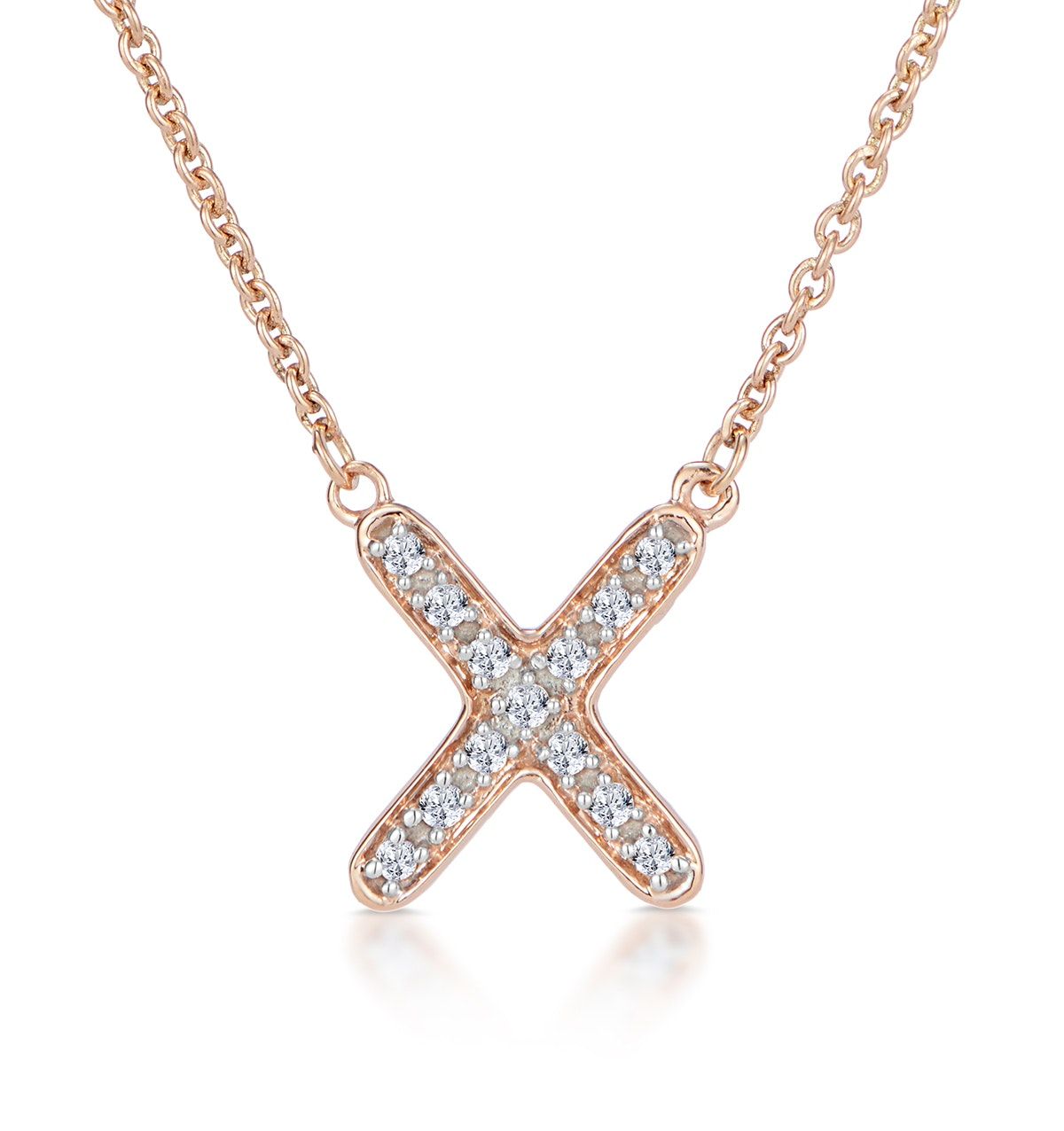 Initial 'X' Necklace Diamond Encrusted Pave Set in 9K Rose Gold