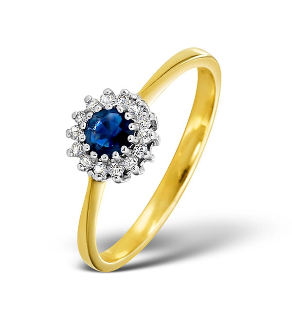 Sapphire 3 x 3mm And Diamond 9K Gold Ring - image 1