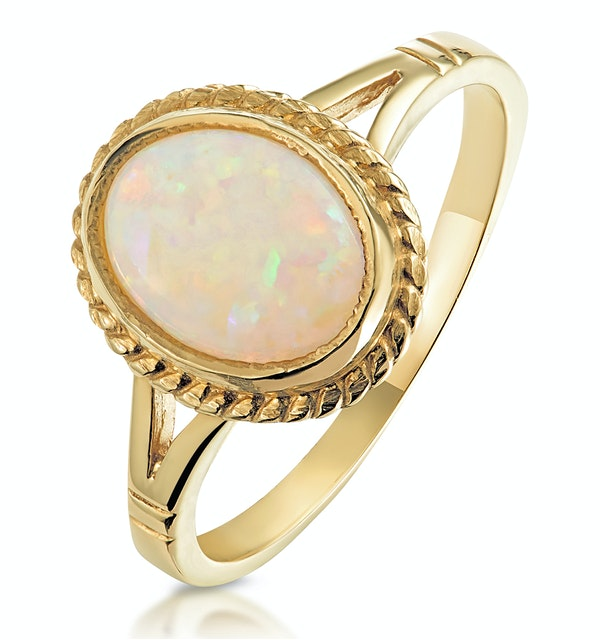 Opal 1.02CT 9K Yellow Gold Ring - image 1
