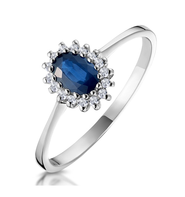 Sapphire 6 x 4mm And Diamond 9K White Gold Ring  A3906 - image 1