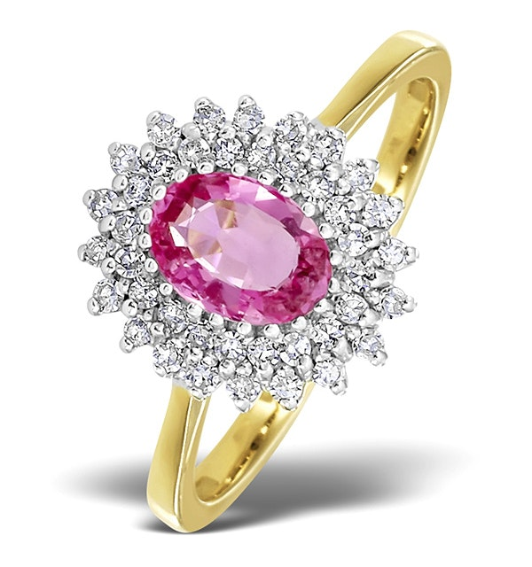 18K Gold Diamond and Pink Sapphire Ring 0.30ct - image 1
