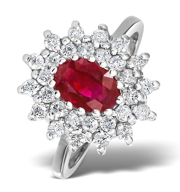 Ruby 7 x 5mm And Diamond 18K White Gold Ring  FET36-TY - image 1