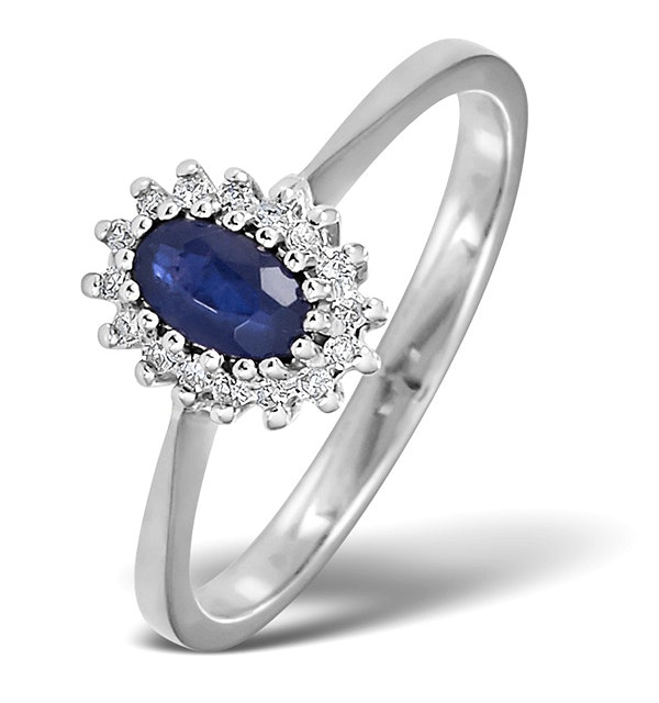 Sapphire 5 x 3mm And Diamond 9K White Gold Ring  A4432 - image 1