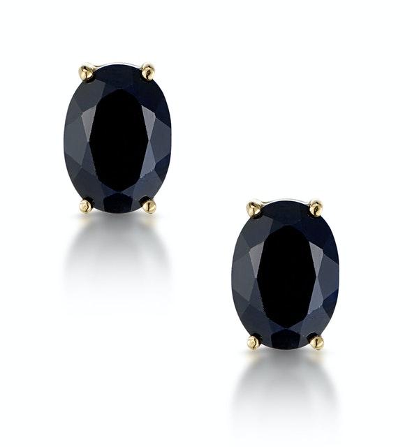 Sapphire 7mm x 5mm 9K Yellow Gold Earrings - image 1