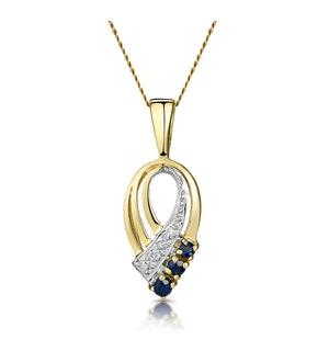 SAPPHIRE 2.25 MM AND DIAMOND 9K YELLOW GOLD PENDANT