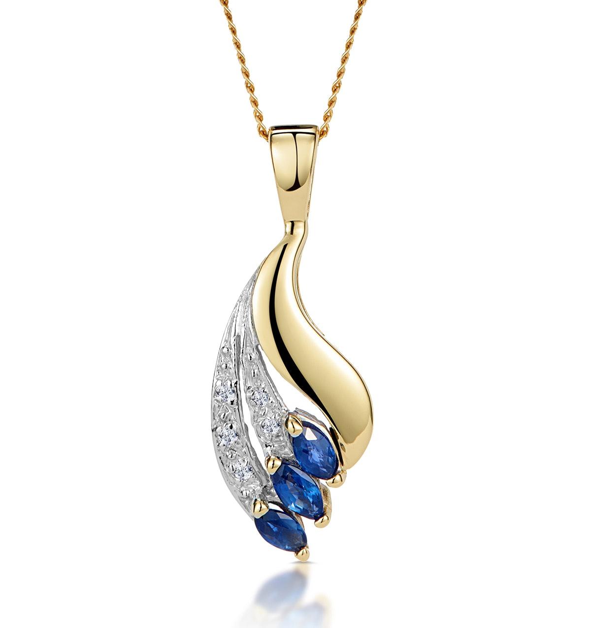 Sapphire 4 x 2mm And Diamond 9K Yellow Gold Pendant