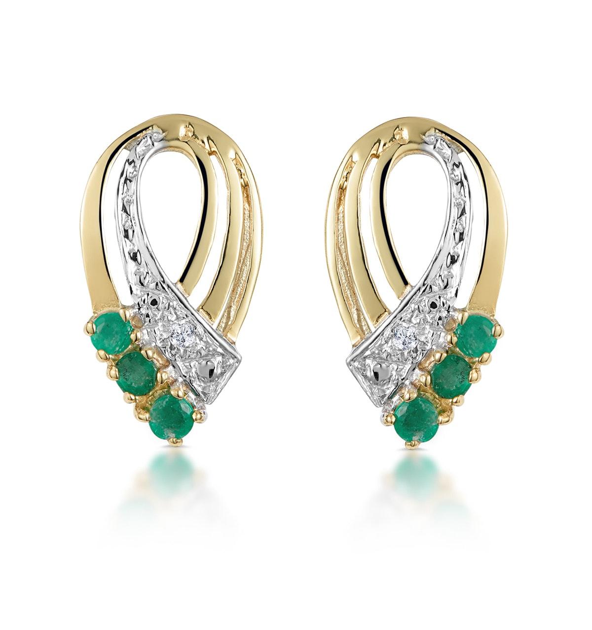 Emerald 8 x 15mm And Diamond 9K Yellow Gold Earrings