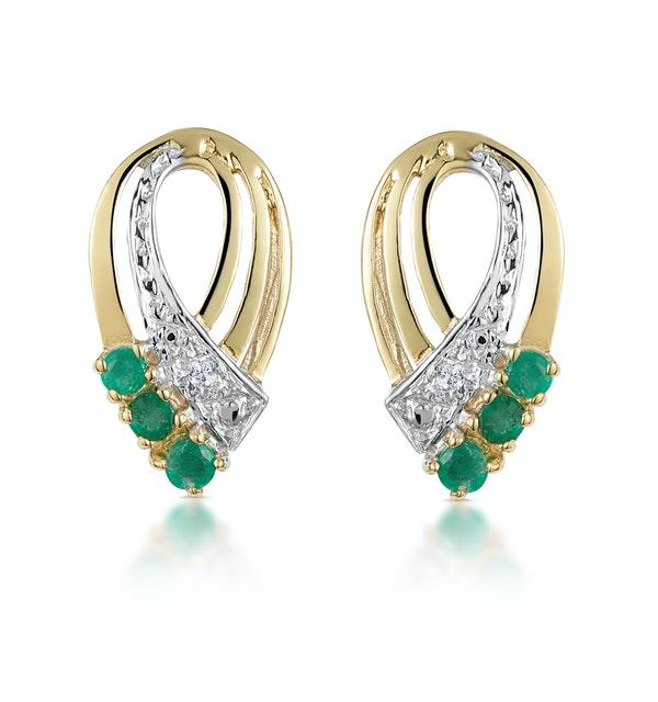 Emerald 8 x 15mm And Diamond 9K Yellow Gold Earrings - image 1