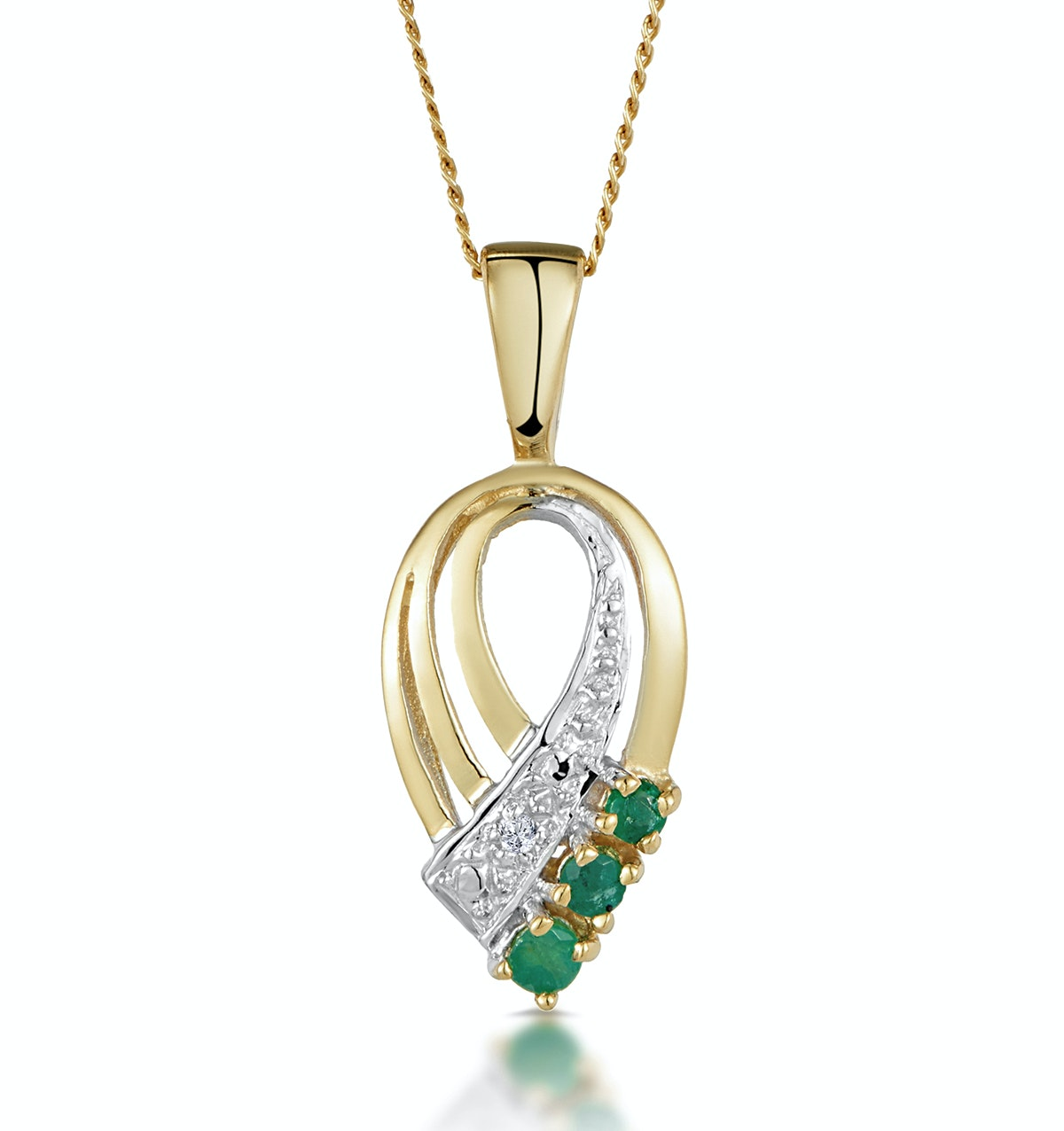Emerald 2.25mm And Diamond 9K Yellow Gold Pendant