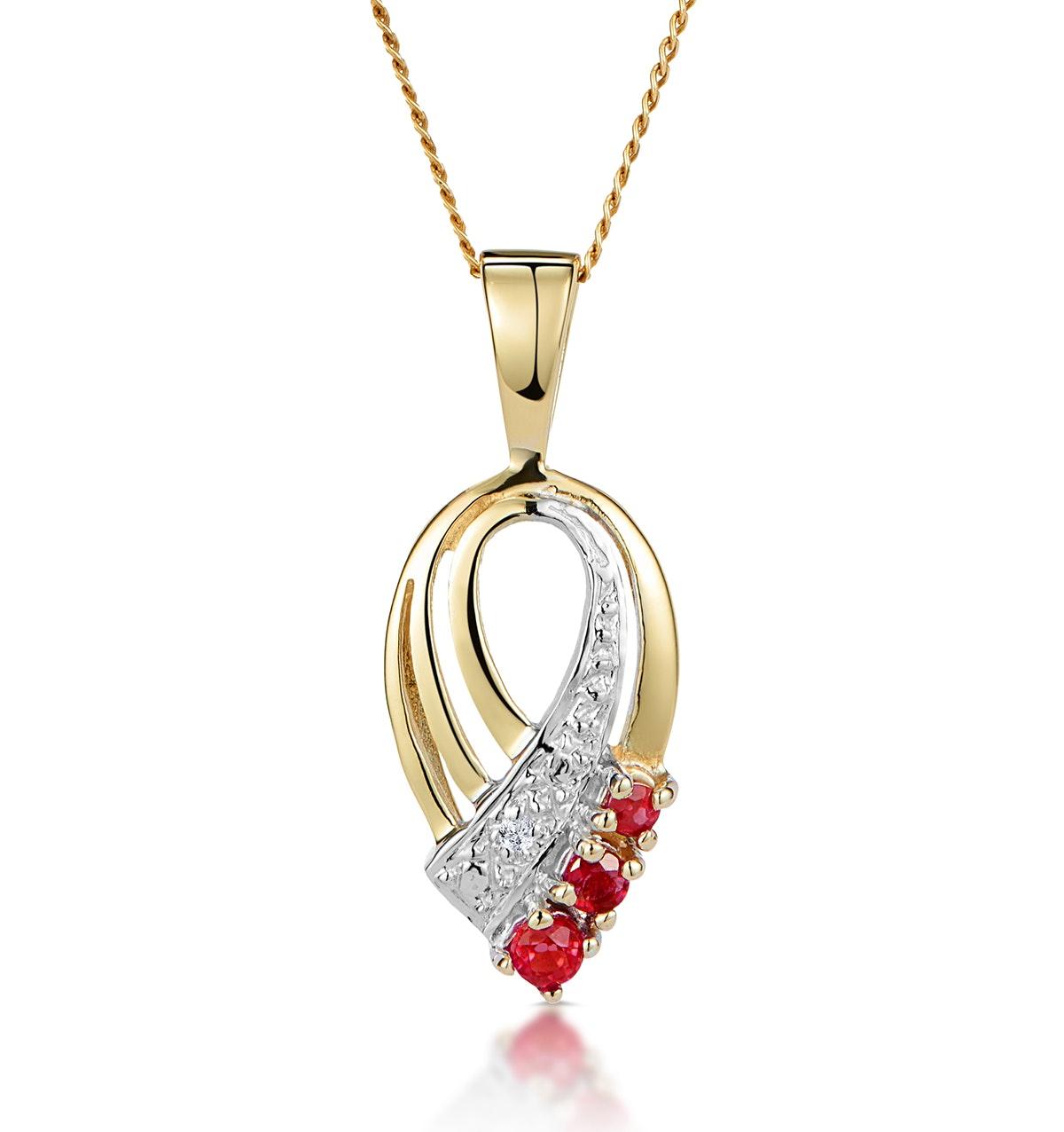 Ruby 2.25mm And Diamond 9K Yellow Gold Pendant