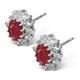 Ruby 6 x 4mm And Diamond 18K White Gold Earrings  FEG25-TY - image 2