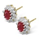 Ruby 6 x 4mm And Diamond 9K Yellow Gold Earrings - image 2